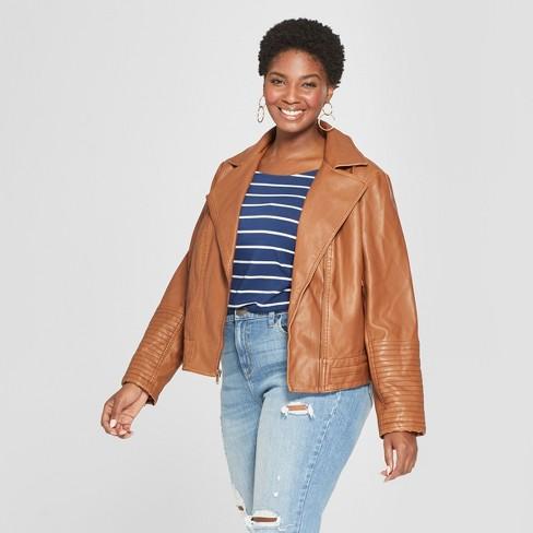 27a5e789dc9fb Women s Plus Size Moto Jacket - Ava   Viv™ Brown 3X   Target