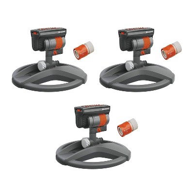 Gardena 84-BZMX Outdoor ZoomMaxx Oscillating Sprinkler on Weighted Sled Base for Lawn, Yard, and Garden (3 Pack)