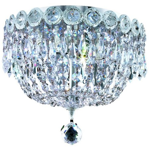 Elegant Lighting 1900F10C Century 3-Light, Single-Tier Flush Mount Crystal Chandelier, Finished in Chrome - image 1 of 1