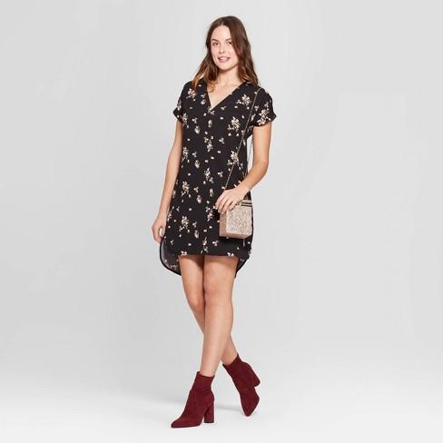 Women s Floral Print Short Sleeve V-Neck Crepe Dress - A New Day™ Black 0903b686f