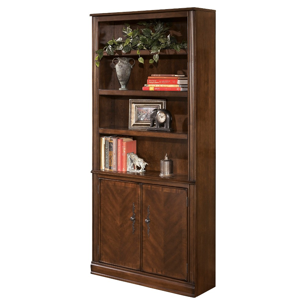 Hamlyn 75.13 Large Door Bookcase - Medium Brown - Signature Design by Ashley
