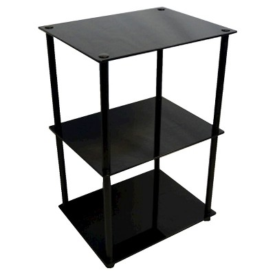 Classic Glass Tall 3 Tier End Table Black Glass - Breighton Home