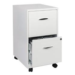 2 Drawer Steel File Cabinet in White-Scranton & Co