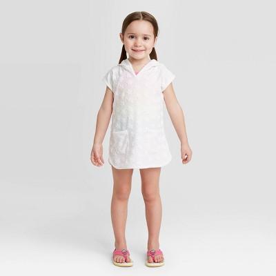 Toddler Girls' Star Print Cover Up - Cat & Jack™ True White 2T