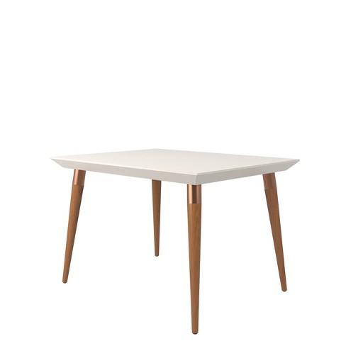 Tremendous 47 24 Utopia Modern Beveled Rectangular Dining Table With Glass Top Maple Cream Off White Manhattan Comfort Uwap Interior Chair Design Uwaporg