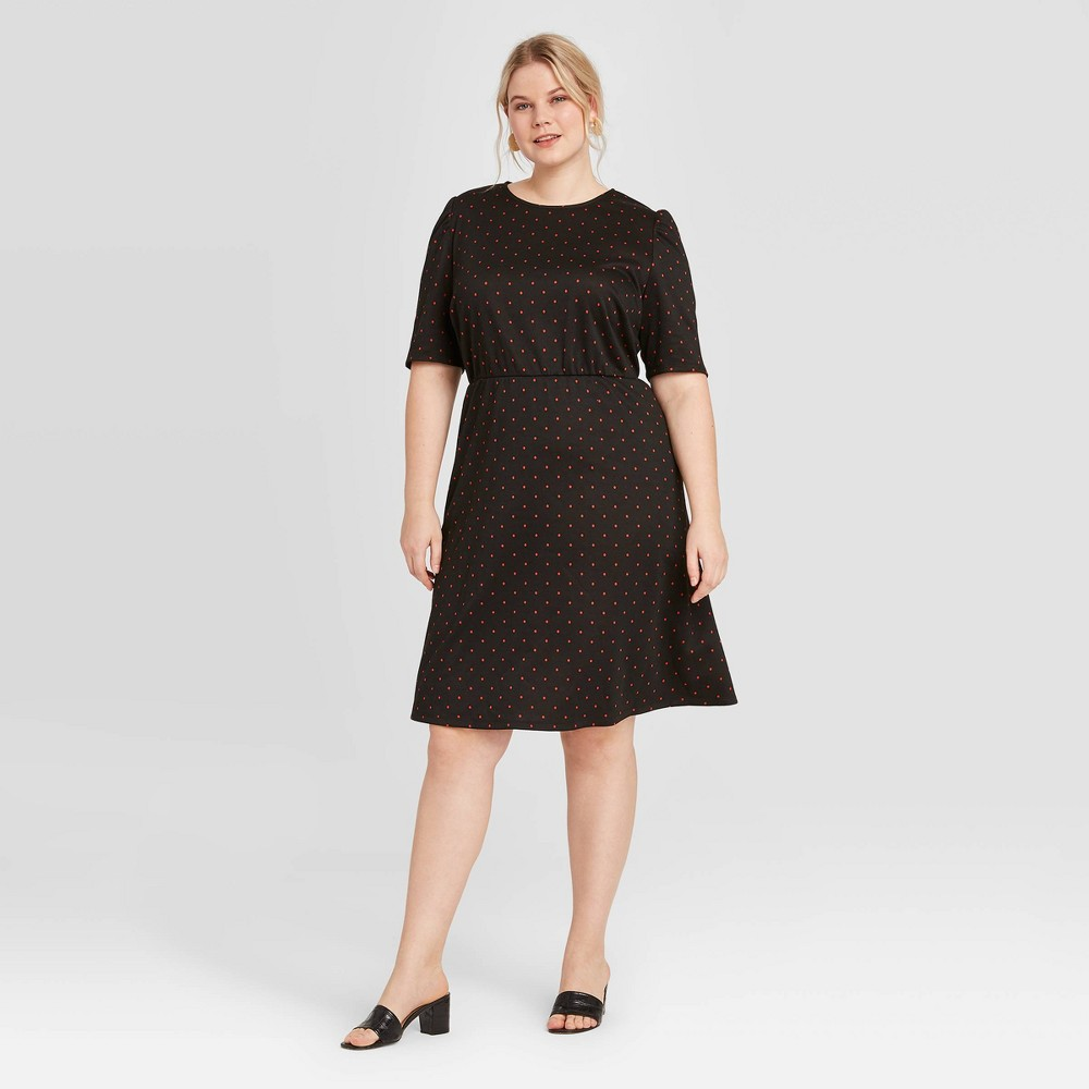 Women's Plus Size Polka Dot Short Sleeve Dress - Who What Wear Black 3X, Women's, Size: 3XL was $32.99 now $23.09 (30.0% off)