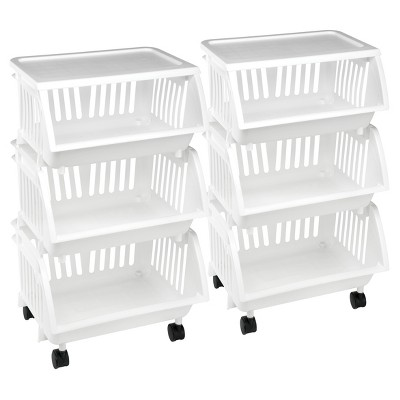 Homz® Utility Storage Carts, Set of 2, White
