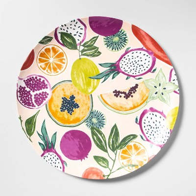 "18"" Melamine Fruit Print Serving Platter Pink - Opalhouse™"