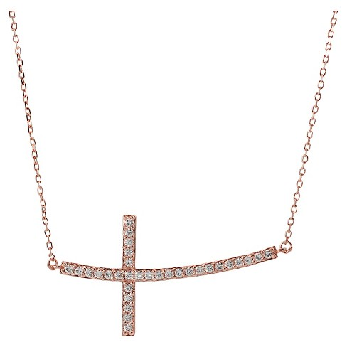 "1/3 CT. T.W. Round-cut CZ Pave Set Cross Pendant Necklace in Sterling Silver - Rose Gold (18"") - image 1 of 2"