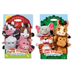 Melissa & Doug® Animal Hand Puppets (Set of 2, 4 animals in each) - Zoo Friends and Farm Friends