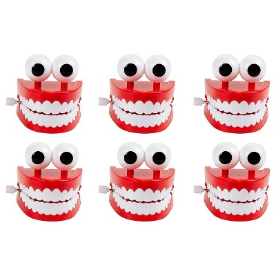 6-Pack Wind-Up Walking Chattering Teeth with Eyes for Party Favors, Gag Gifts