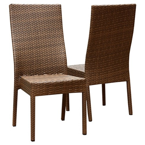 Manchester Outdoor Brown Wicker Dining Chair (Set of 2) - image 1 of 1