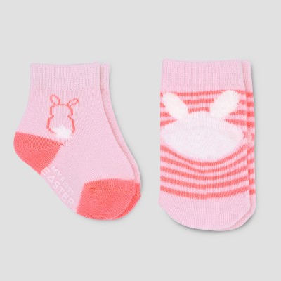 Baby Girls' 2pk Easter Crew Socks - Just One You® made by carter's Pink 0-6M