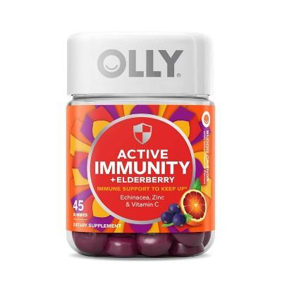 OLLY Active Immunity + Elderberry Support Gummies - Blood Orange - 45ct