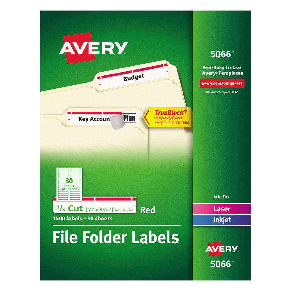 Avery Laser/Inkjet Self-Adhesive Filing Labels - White (1500 Per Box), White/Red