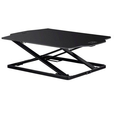 """Monoprice Ultra Slim Sit-Stand Riser Desk Converter - Black (31.3 x 21.3in) Table Top for Single Display, Height Adjustable 1.2""""-15.7"""""""