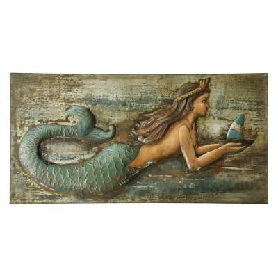 "47"" Three Dimensional Mermaid Handmade Decorative Wall Art - StyleCraft"