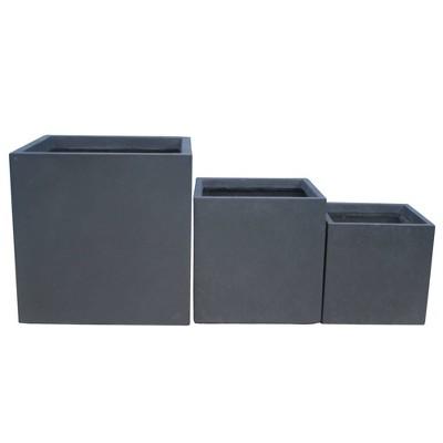 "Set of 3 16"" Kante Lightweight Modern Outdoor Concrete Square Planters - Rosemead Home & Garden, Inc."