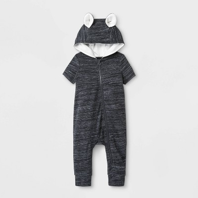 Baby Boys' Short Sleeve Hooded Critter Romper - Cat & Jack™ Charcoal 0-3M