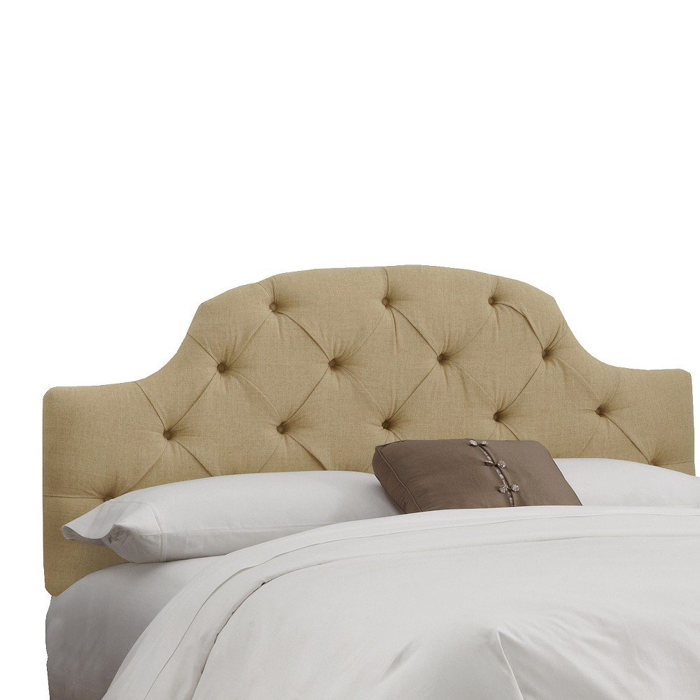 Twin Upholstered Curved Tufted Headboard Linen Sandstone - Skyline Furniture