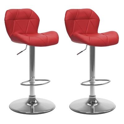 Set of 2 Adjustable Hex Design Bonded Leather Barstool - Corliving