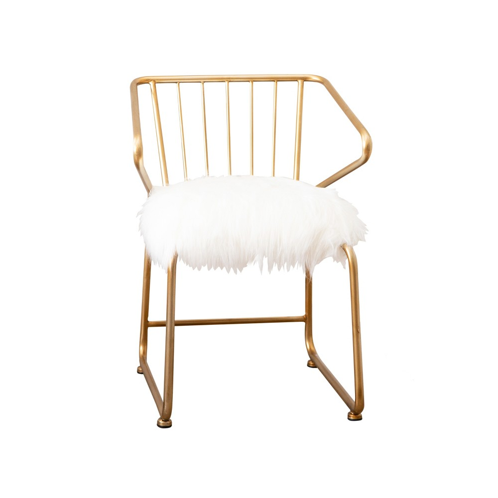Miley Faux Fur Dining Chair Gold - Abbyson Living