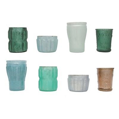 8pc Mercury Glass Votive Holder Set Blue/Green 3 x5  - 3R Studios®