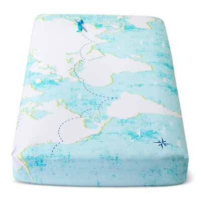 Fitted Crib Sheet World Map - Cloud Island™ Light Blue