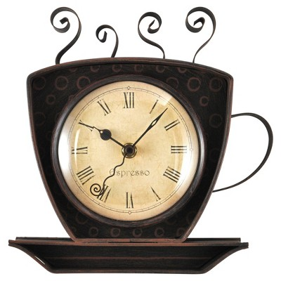 Coffee Cup Wall Shaped Wall Clock Oil Rubbed Bronze - FirsTime®