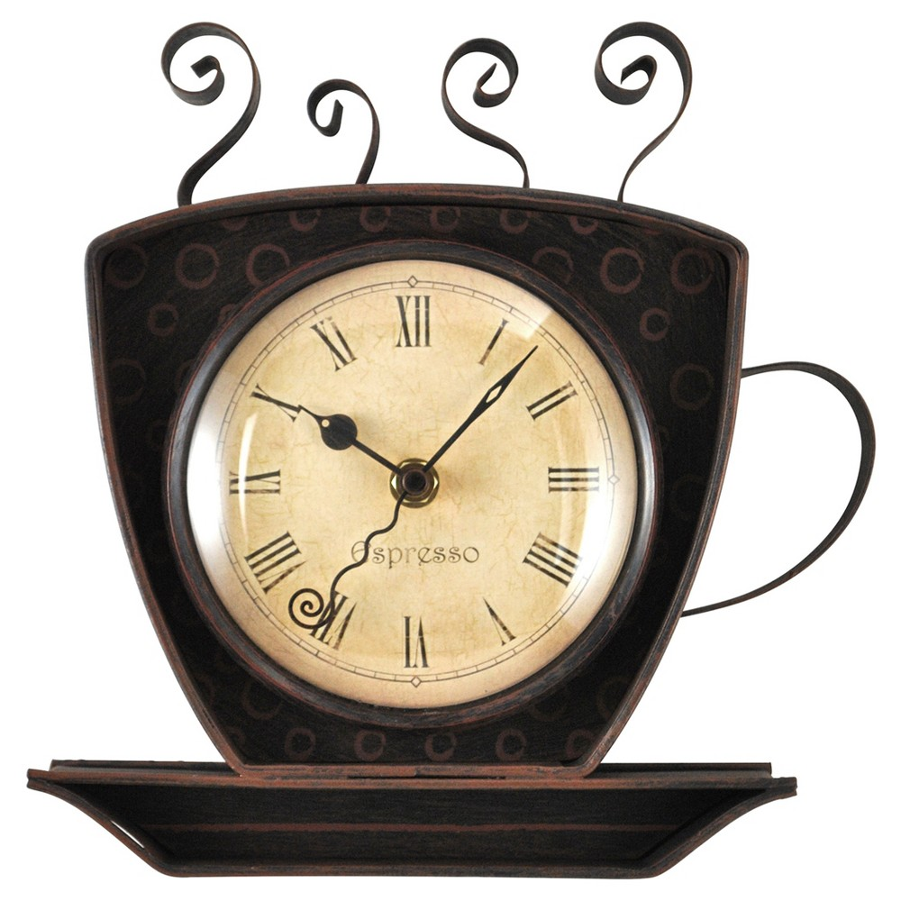 Image of Coffee Cup Wall Shaped Wall Clock Oil Rubbed Bronze - FirsTime