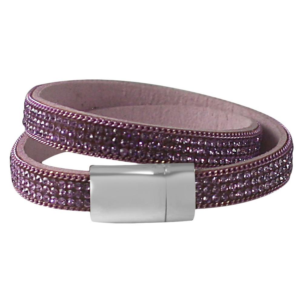 Zirconite Colored Crystals Double Wrap Bracelet - Lavender, Women's