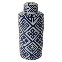 Valora Blue and White Cylinder Jar - Small - A&B Home