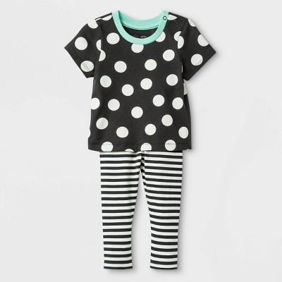 Baby Girls' 2pc Cross-back Jersey Top & Span Jersey Leggings Bottom Set - Cat & Jack™ Black 6-9M