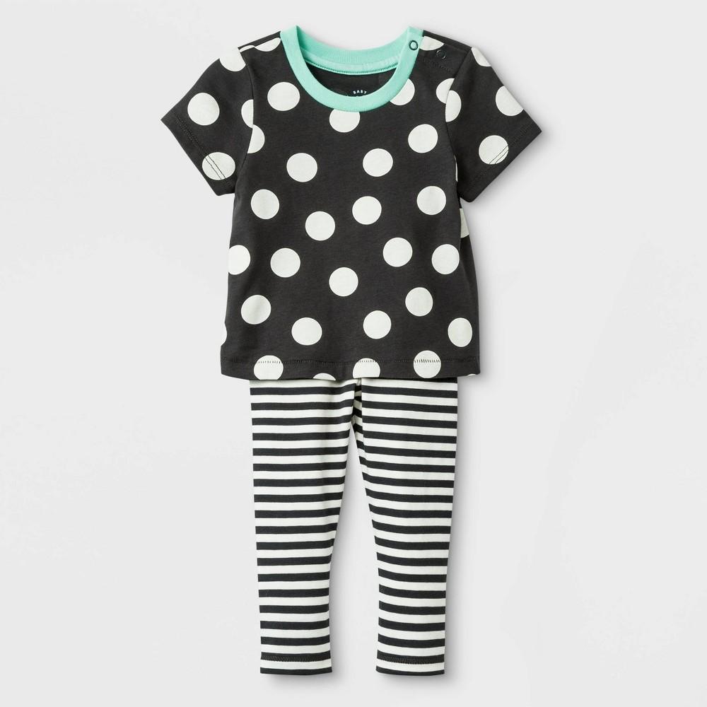 Baby Girls' 2pc Cross-back Jersey Top & Span Jersey Leggings Bottom Set - Cat & Jack Black 18M, Gray