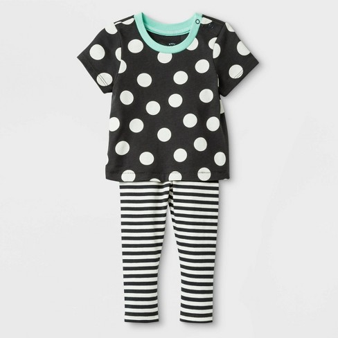 Baby Girls' 2pc Cross-back Jersey Top & Span Jersey Leggings Bottom Set - Cat & Jack™ Black - image 1 of 2