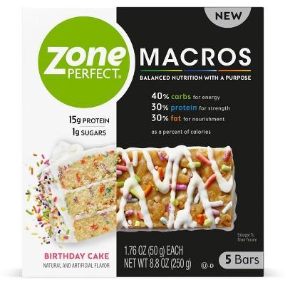 Zone Perfect Macros Birthday Cake Nutrition Bars - 5ct