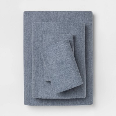 Full Solid Flannel Sheet Set Blue - Threshold™