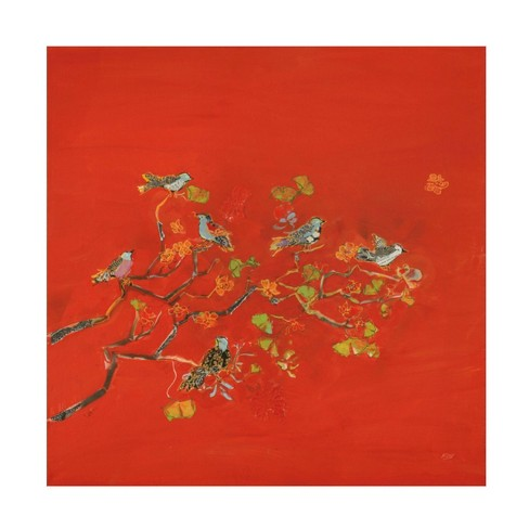 "35"" x 35"" Kellie Day 'Bird Party' Unframed Wall Canvas - Trademark Fine Art - image 1 of 4"