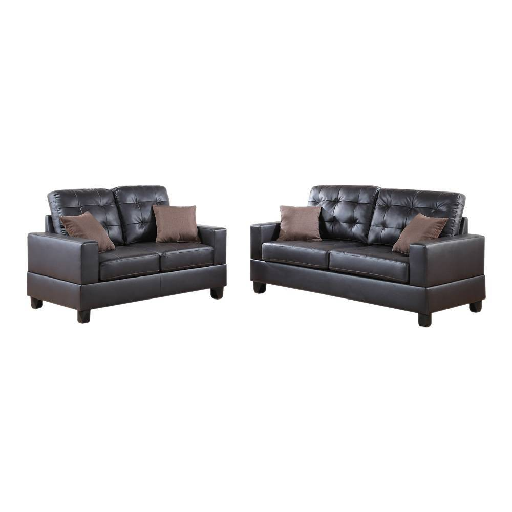 Image of 2pc Gracious Sofa Set With Pillows Dark Brown - Benzara