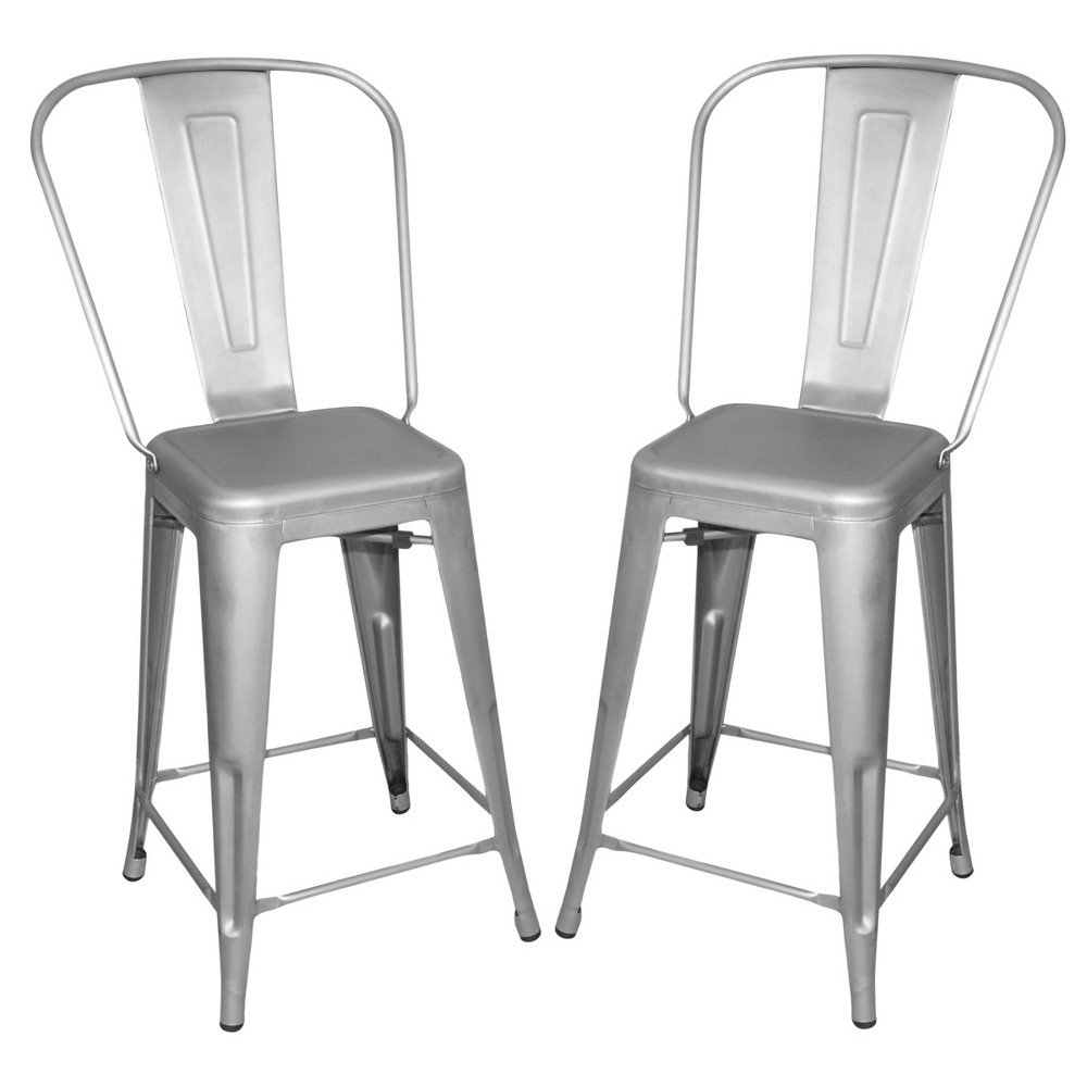 24 Sadie Set of 2 Counter Stool Galvanized - Carolina Chair and Table