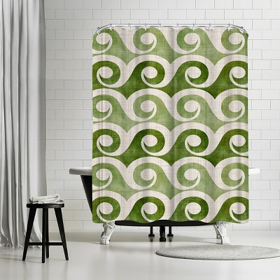 """Americanflat Retro Waves In Green by Modern Tropical 71"""" x 74"""" Shower Curtain"""