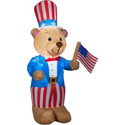 Gemmy Airblown Inflatable Patriotic Teddy Bear, 4 ft Tall, blue