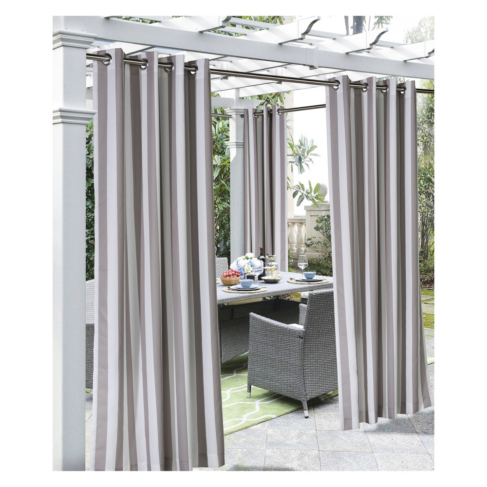 """Image of """"50""""""""x108"""""""" Coastal Printed Stripe Grommet Top Indoor/Outdoor Blackout Curtain Panel Taupe - Outdoor Décor"""""""