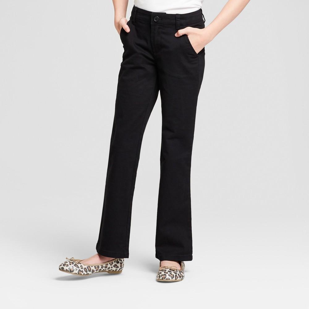 Girls' Bootcut Twill Uniform Chino Pants - Cat & Jack Black 6X