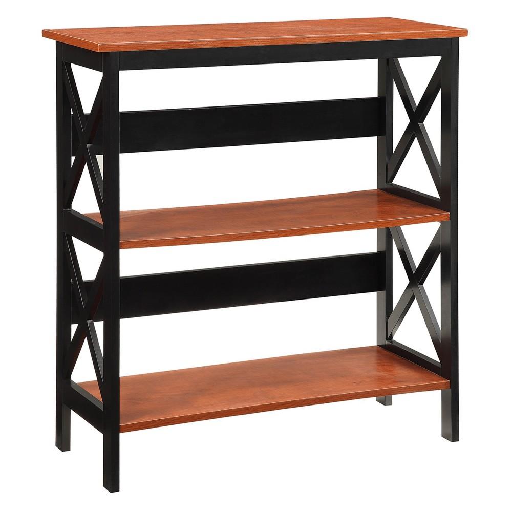 "Image of ""32.5"""" Oxford 3 Tier Bookcase Cherry/Black - Johar Furniture, Red Black"""