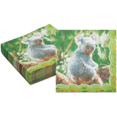Sparkle and Bash 150 Pack Koala Paper Disposable Napkin Napkins for Kid's Animal Birthday Party Supplies, 6.5""