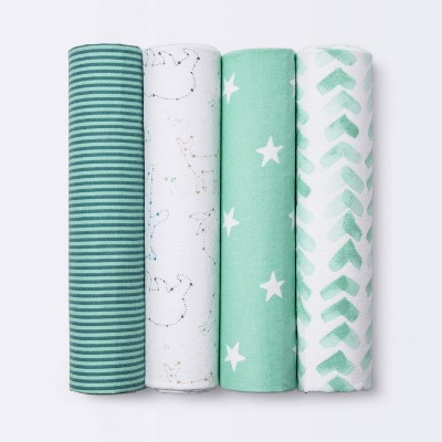 Flannel Baby Blankets Starry Slumber - Cloud Island™ Green 4pk