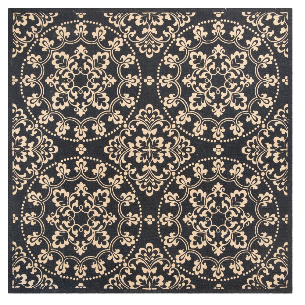 Navy Blue/Natural Abstract Loomed Square Area Rug - (6'X6') - Safavieh