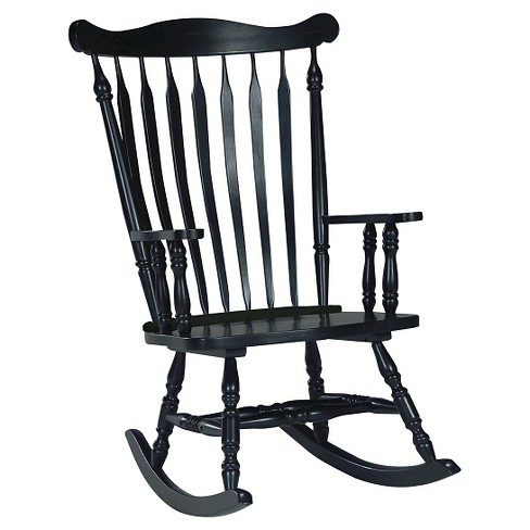 Rocking Chair Solid Wood Black - International Concepts - image 1 of 4