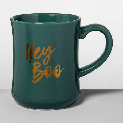 15oz Stoneware Hey Boo Diner Mug Green - Opalhouse™